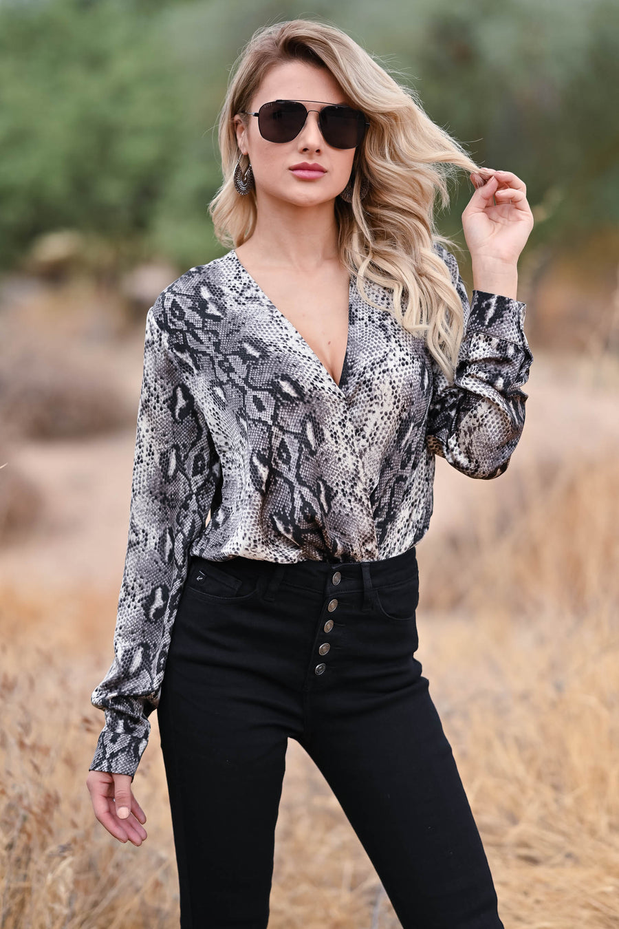 Making Plans Snake Print Bodysuit - Grey womens trendy long sleeve woven surplice neckline bodysuit closet candy front