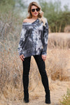 All Tied Up Long Sleeve Top - Charcoal womens trendy waffle knit top v neckline with exposed seam closet candy front