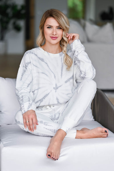 Time To Relax Loungewear - White & Grey womens trendy long sleeve round neck with elastic waist band joggers closet candy sitting 2
