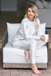 Time To Relax Loungewear - White & Grey womens trendy long sleeve round neck with elastic waist band joggers closet candy sitting