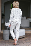 Time To Relax Loungewear - White & Grey womens trendy long sleeve round neck with elastic waist band joggers closet candy back