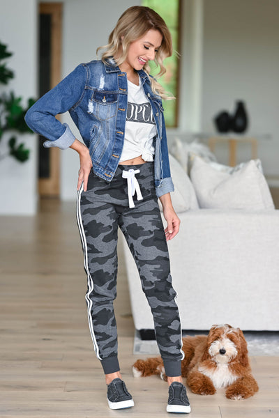 Let's Be Casual Camo Joggers - Charcoal womens trendy Camo print double lined at sides closet candy front 2