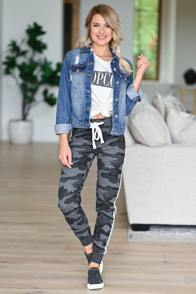 Let's Be Casual Camo Joggers - Charcoal womens trendy Camo print double lined at sides closet candy front 3