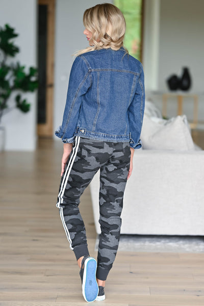 Let's Be Casual Camo Joggers - Charcoal womens trendy Camo print double lined at sides closet candy back