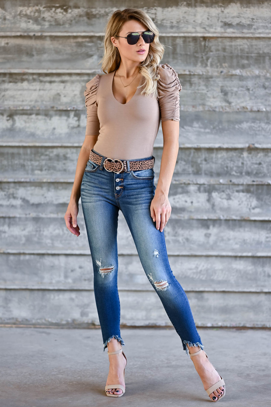 Here To There Double Layer Bodysuit - Taupe womens trendy ruffle sleeve plunge neckline closet candy front