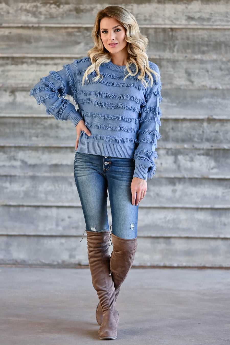 Fringe Benefits Sweater - Dusty Blue womens trendy knit pullover with fringe detail closet candy front