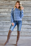 Fringe Benefits Sweater - Dusty Blue womens trendy knit pullover with fringe detail closet candy front 3