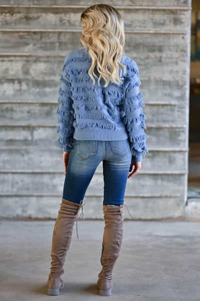 Fringe Benefits Sweater - Dusty Blue womens trendy knit pullover with fringe detail closet candy back
