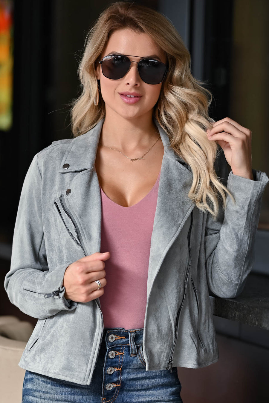 Here To There Double Layer Bodysuit - Dusty Rose womens trendy ruched sleeve v neck plunge bodysuit closet candy front