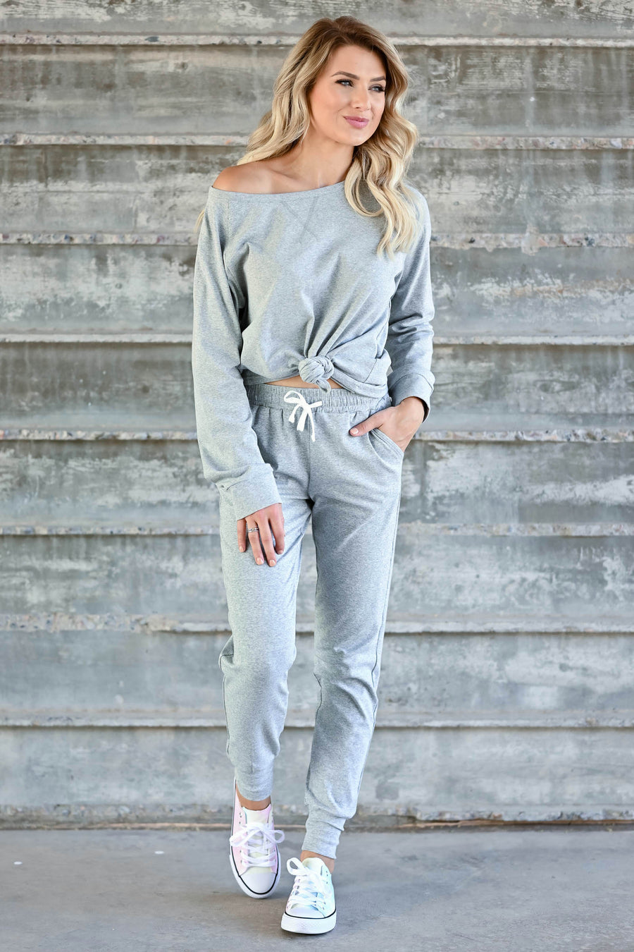 CBRAND At Peace Joggers - Heather Grey womens trendy knit joggers with elastic drawstring closet candy sitting