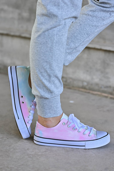 True Colors Sneakers - Tie Dye - trendy womens lace up sneakers closet candy side 2