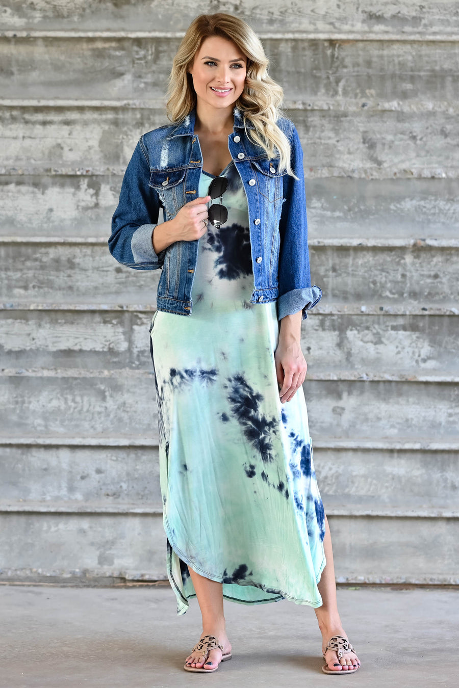 Let Them Hear You Tie Dye Maxi Dress - Mint womens trendy maxi dress closet candy front