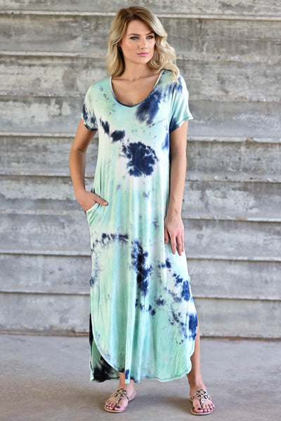 Let Them Hear You  Tie Dye Maxi Dress - Mint womens trendy maxi dress closet candy front 3