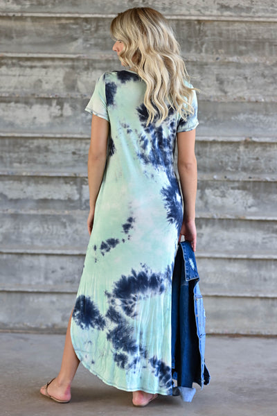 Let Them Hear You  Tie Dye Maxi Dress - Mint womens trendy maxi dress closet candy back
