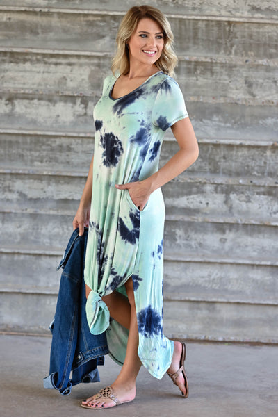 Let Them Hear You  Tie Dye Maxi Dress - Mint womens trendy maxi dress closet candy side