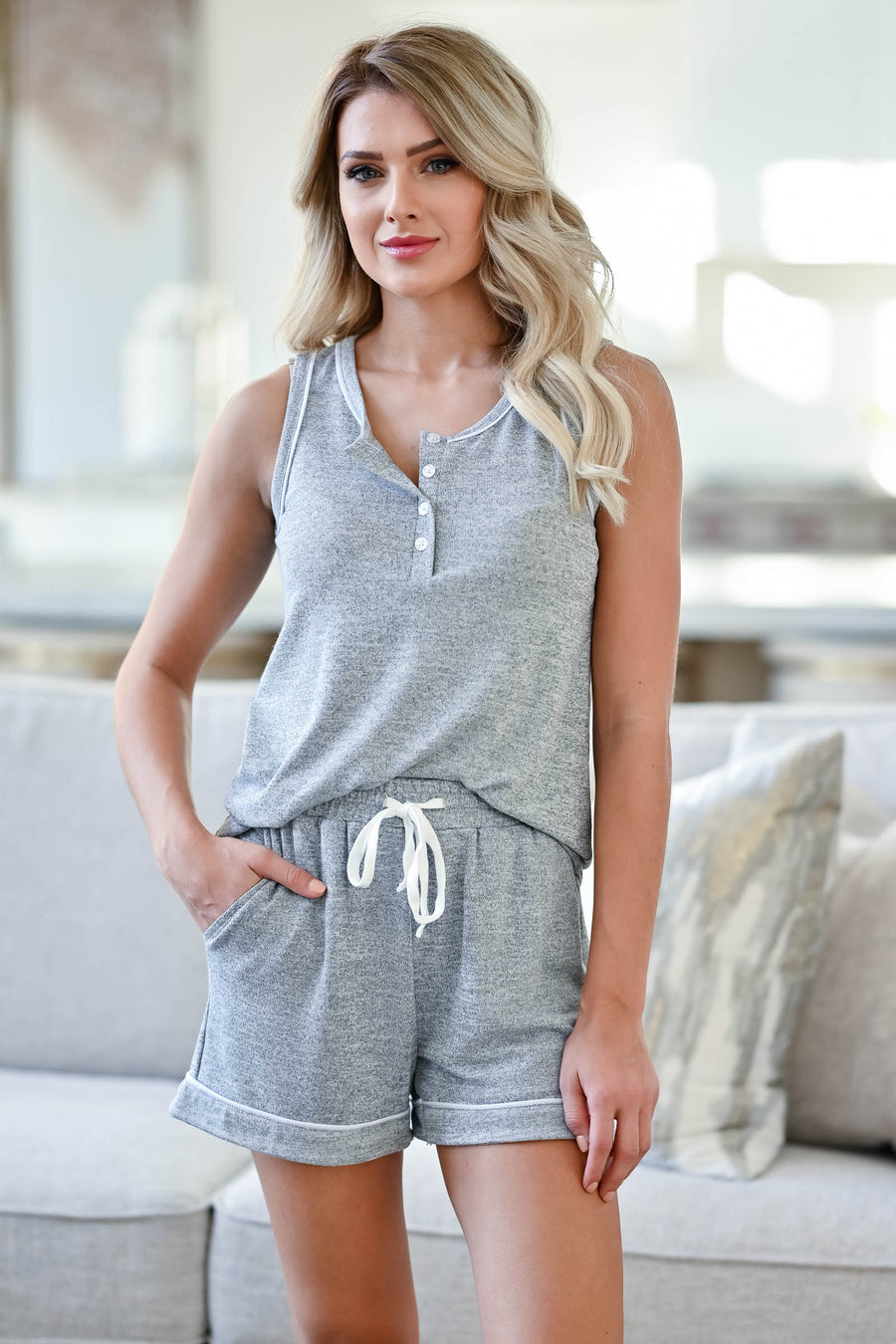 CBRAND Sweet Slumber Pajama Set - Heather Grey womens cozy sleeveless, round neckline featuring four buttons matching shorts with elastic waistband closet candy sitting