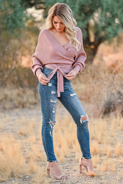 Best Day Ever Sweater - Dusty Rose womens trendy wrap sweater v neckline self tie at waist closet candy front 2