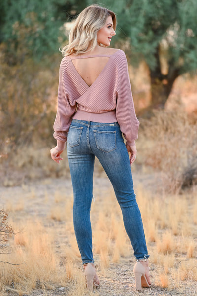 Best Day Ever Sweater - Dusty Rose womens trendy wrap sweater v neckline self tie at waist closet candy back