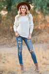 Autumn Breeze Dolman Sweater - Ivory womens trendy knit dolman sleeve sweater closet candy front 2