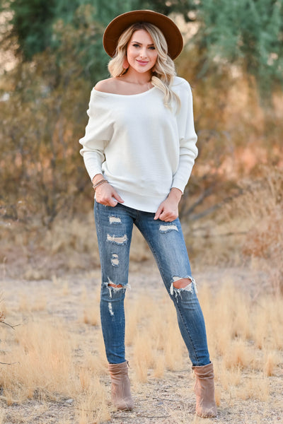 Autumn Breeze Dolman Sweater - Ivory womens trendy knit dolman sleeve sweater closet candy front