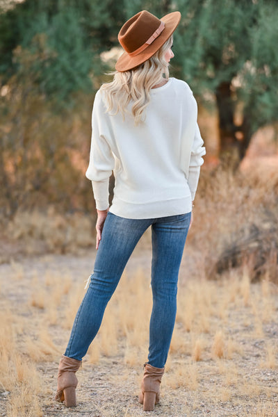 Autumn Breeze Dolman Sweater - Ivory womens trendy knit dolman sleeve sweater closet candy back