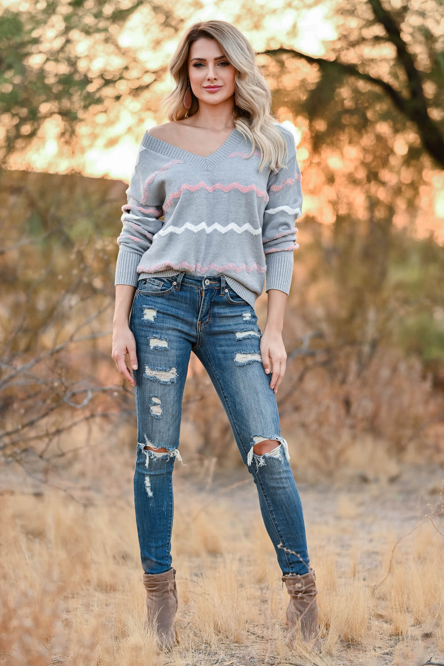 Stylish Vision Sweater - Heather Grey womens trendy knit long sleeve chevron sweater closet candy front
