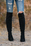 Walk On Over Knee High Boots - Black womens trendy over the knee boots, block heel closet candy front