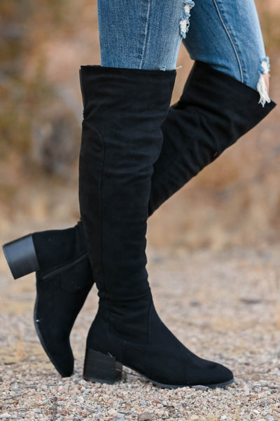 Walk On Over Knee High Boots - Black womens trendy over the knee boots, block heel closet candy side