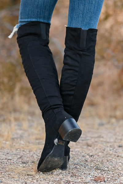 Walk On Over Knee High Boots - Black womens trendy over the knee boots, block heel closet candy back