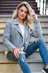 CBRAND Limitless Vegan Suede Jacket - Grey womens trendy vegan suede lined jacket with an asymmetric zipper closet candy sitting