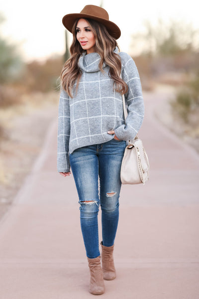 On Second Thought Turtleneck Sweater - Grey womens trendy turtleneck long sleeve sweater closet candy front 2