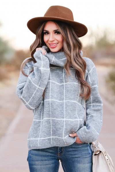 On Second Thought Turtleneck Sweater - Grey womens trendy turtleneck long sleeve sweater closet candy close up