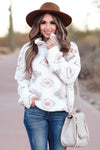 THREAD & SUPPLY Wanderer Aztec Pullover - Ivory womens trendy fuzzy aztec pullover closet candy front
