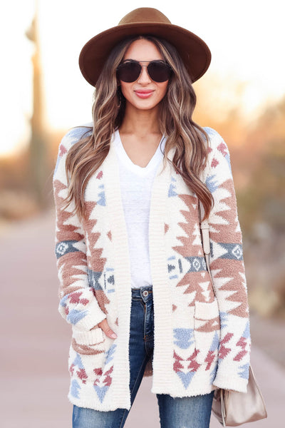Hometown Bound Aztec Cardigan - Ivory womens trendy soft open front aztec cardigan closet candy close up
