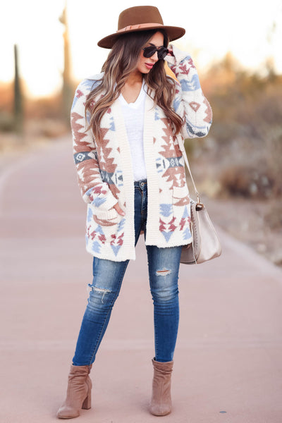 Hometown Bound Aztec Cardigan - Ivory womens trendy soft open front aztec cardigan closet candy front