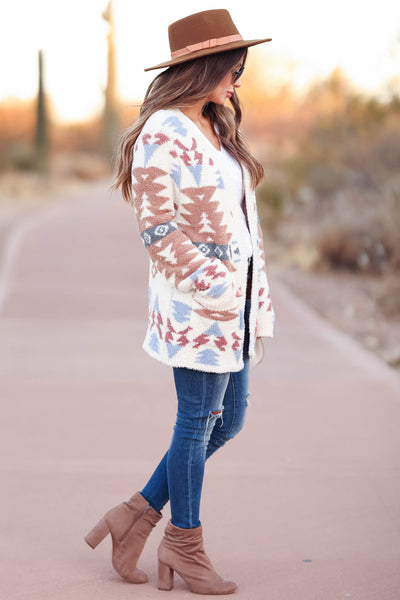 Hometown Bound Aztec Cardigan - Ivory womens trendy soft open front aztec cardigan closet candy side
