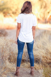 THREAD & SUPPLY Simplistic V-Neck Tee - White womens trendy short sleeve v neck tee closet candy back