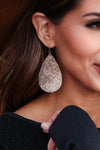 Closely Watching Snake Print Earrings - Beige closet candy trendy womens teardrop multi color earring 1