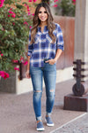 Here And Now Long Sleeve Flannel - Navy womens trendy plaid flannel closet candy front
