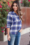 Here And Now Long Sleeve Flannel - Navy womens trendy plaid flannel closet candy close up