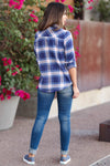 Here And Now Long Sleeve Flannel - Navy womens trendy plaid flannel closet candy back
