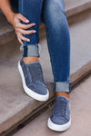 Walk With Me Canvas Sneakers - Vintage Navy womens trendy slip on sneakers closet candy front