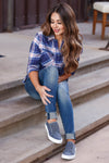 Here And Now Long Sleeve Flannel - Navy womens trendy plaid flannel closet candy sitting