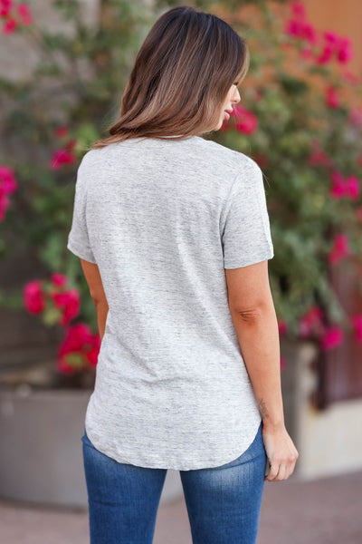 THREAD & SUPPLY Simplistic V-Neck Tee - Heather Grey closet candy womens t-shirt back
