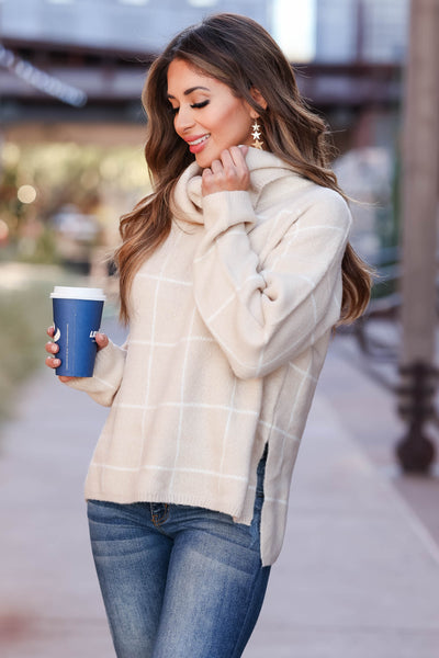 On Second Thought Turtleneck Sweater - Taupe womens trendy long sleeve grid sweater closet candy side