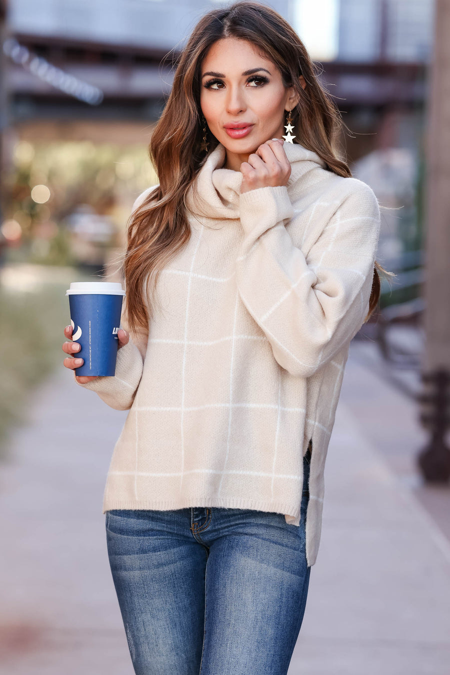 On Second Thought Turtleneck Sweater - Taupe womens trendy long sleeve grid sweater closet candy front