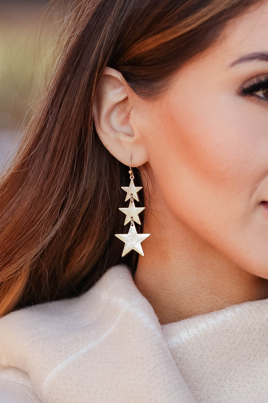 All Night Star Earrings - Vintage Gold womens trendy star dangle earrings closet candy front