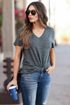 THREAD & SUPPLY Simplistic V-Neck Tee - Charcoal womens trendy v neck tee closet candy front