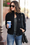 Always Reminding You Sherpa Jacket - Black womens trendy zip up sherpa jacket closet candy close up