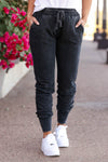 Chilly Day Joggers - Vintage Black womens trendy vintage washed joggers closet candy close up 2